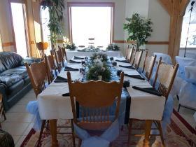 Tables and chairs can be rented locally